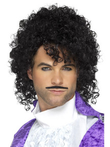 80s Musician Kit Black Curly Wig & Mo