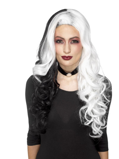 Black and White Long Curly Evil Witch Wig