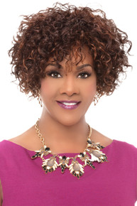 """WHITNEY - 100% Human Hair 8"""" Layered Curly Wig - by Vivica Fox - colour 1B - ONE ONLY"""