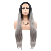 SAMI - Lace Front Long Straight Ombre Grey Blonde Wig - by Queenie Wigs