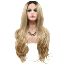 MADDIE - Lace Front Long Golden Blonde Wavy Ombre Wig - by Queenie Wigs