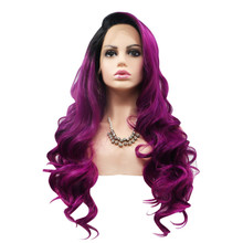 ORCHID - Lace Front Long Ombre Plum/Purple Wig by Queenie Wigs
