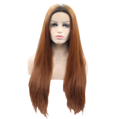 EVIE - Lace Front Long Auburn Brown Ombre Straight Wig - by Queenie Wigs