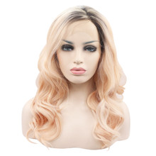 ADELE - Lace Front Medium Ombre Strawberry Blonde Wavy Wig - by Queenie Wigs