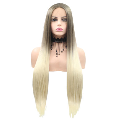 NICOLA - Lace Front Long Ombre Blonde Straight Wig - by Queenie Wigs