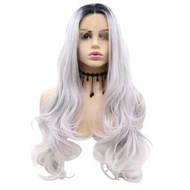 STORM - Lace Front Long  Ombre Silver Grey Wavy Wig - by Queenie Wigs