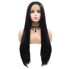 CASSIE - Lace Front Long Black Straight Wig - by Queenie Wigs