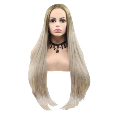 SUMMER - Lace Front Long Straight Ash Blonde Ombre Wig - by Queenie Wigs