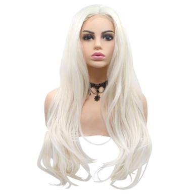 BRONTE - Lace Front Long Wavy Platinum Blonde Wig - by Queenie Wigs
