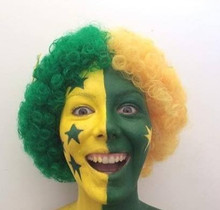 Green and Gold Afro with Stars Costume Wig