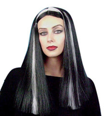 Black and Grey Streaked Witch Costume Wig