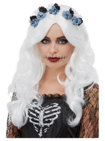 White Day of the Dead Wig with Flowers