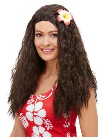 Hawaiian Brown Wig with Flower