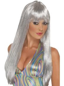 Silver Glitter Disco Wig