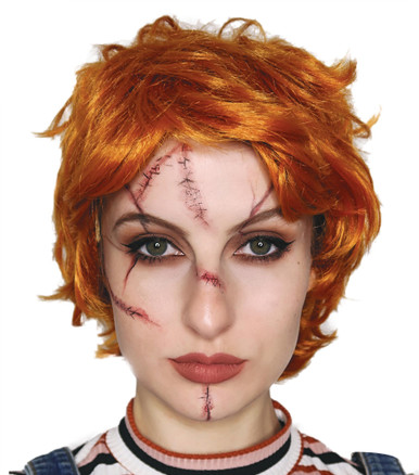 Evil Doll Orange Red Wig with Scar Tattoos Costume Set  - by Allaura