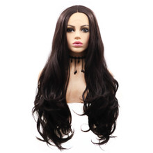 WILLOW - Lace Front Dark Brown Long Wavy Wig - by Queenie Wigs