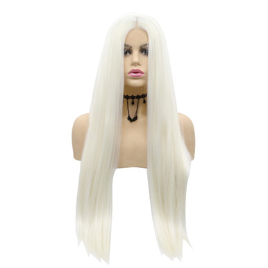 AMBER - Lace Front Long Straight Platinum Blonde Wig - by Queenie Wigs
