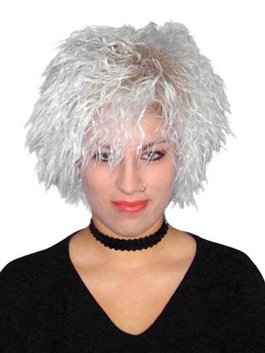 Blondie Crimped Rocker Girl White Blonde Costume Wig