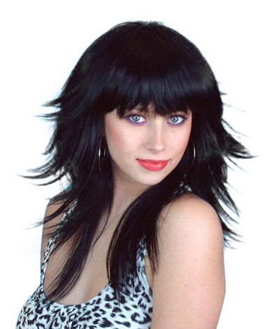 70s / 80s Black Feathered Retro Layered Long Costume Wig