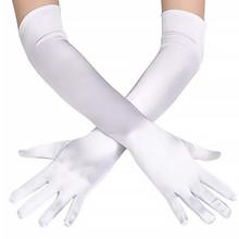 GLOVES - Elbow Length Long White Satin Gloves