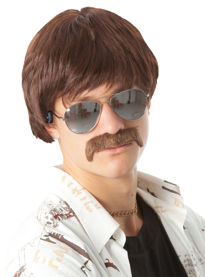 70s Detective Brown Mod Costume Wig Moustache Set By Allaura