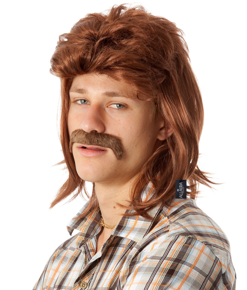 80 s Mullet   Mo Set - Mens Brown Mullet Wig   Moustache - by ... ed2116e64461
