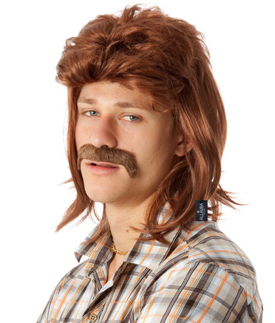 Mullet & Mo Set - 80's Brown Mullet Wig & Moustache - by Allaura