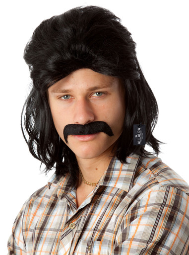 Mullet & Mo Set - 80's Black Mullet Wig & Moustache - by Allaura