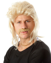 Mullet & Mo - 80's Blonde Mullet Wig & Moustache Set