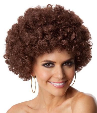Party Afro (Brown) Costume Wig - Unisex - by Allaura