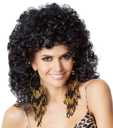 ec41be134 80's Perm (Cher) Black Costume Wig - by Allaura - The Wig Outlet