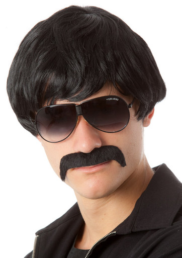 70's Detective Black Mod Costume Wig & Moustache Set