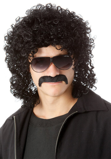 80's Man Perm & Moustache (Black) Costume Wig Set