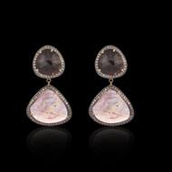 Black & Pink Multi Sapphire - 2 Tier Earring