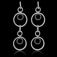 Bubbles White & Black Diamond Circles Earrings