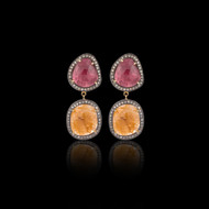 Color Me Happy Maroon and Yellow Multi Sapphire Earring