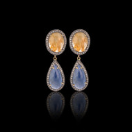 Yellow and Blue Multi Sapphire Earring