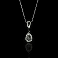 Eternally Beautiful White & Black Diamonds Drop Necklace
