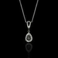 Eternally Beautiful White & Black Diamonds Drop Necklace