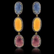 Multi Color Sapphire & Diamond Slice Earrings