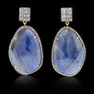 Blue Sapphire & Diamond Slice Earrings