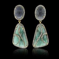 Emerald, Deep Blue Sapphire & Diamond Earrings