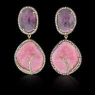 Pink, Purplish Sapphire & Diamond Earrings