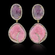 Pink, Purplish Sapphire & Diamond Earrings
