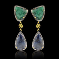 Emerald, Sapphires & Diamond Slice Earrings