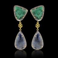 Emerald, Sapphires & Diamond Slice Earrings