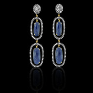 Dark Blue Sapphires & Diamond Earrings