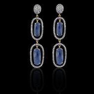 Dark Blue Sapphires & Diamond Earrings