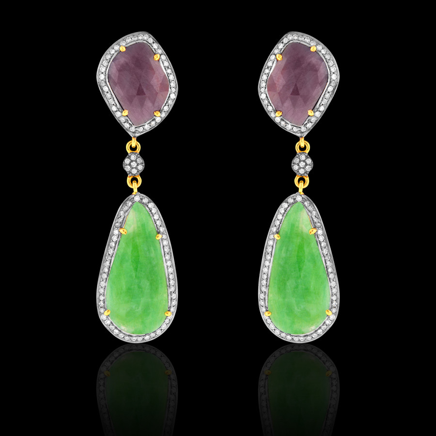 714752a27 Emerald, Deep Pinkish Purple Sapphire Earrings - JYOTI