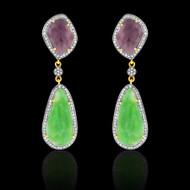 Emerald, Deep Pinkish Purple Sapphire Earrings
